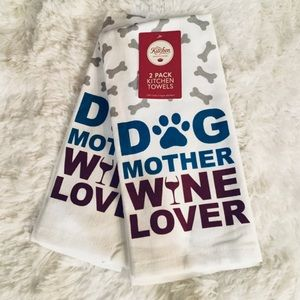 Dog Wine Lover Kitchen Tea Towels Set 2 Cotton NWT